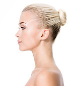 Profile portrait of  young blond woman