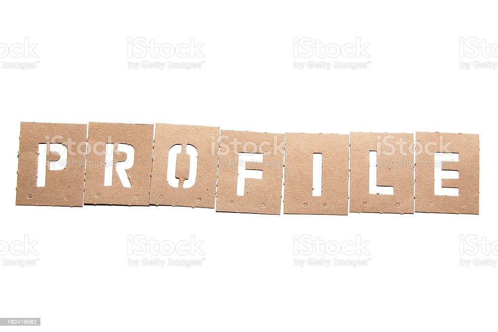 Profile Stencil Word stock photo