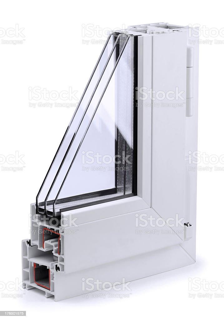 Profile view of a window section stock photo
