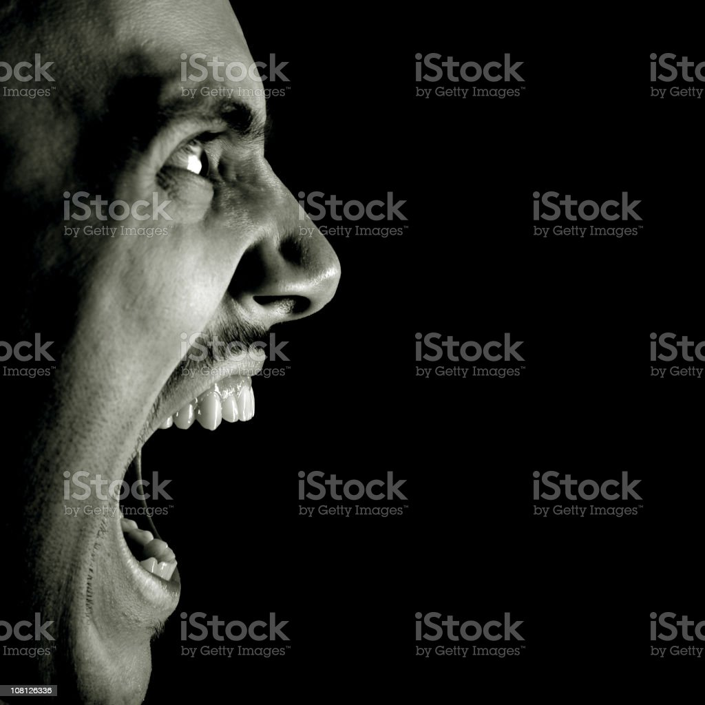 Profile View of Man Screaming, Black and White royalty-free stock photo