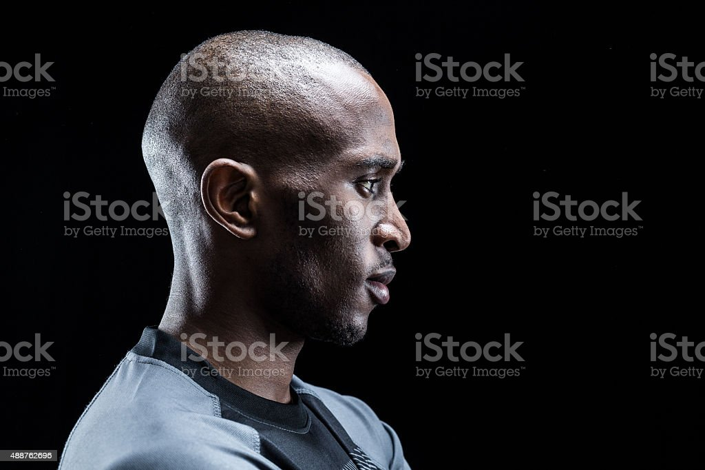 Profile view of rugby player stock photo