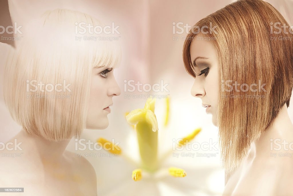 Profiles of two beautiful women composited with a flower royalty-free stock photo