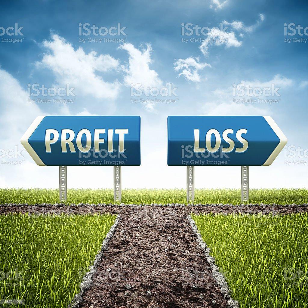 profit and loss crossroad stock photo