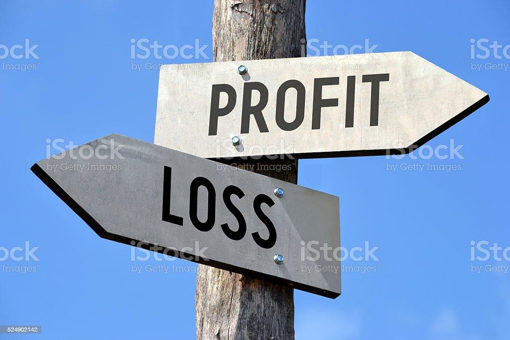 Profit and loss signpost stock photo