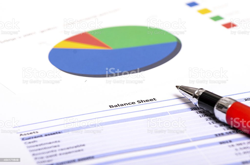Profit and Loss Statement with financial figures and investment budget stock photo