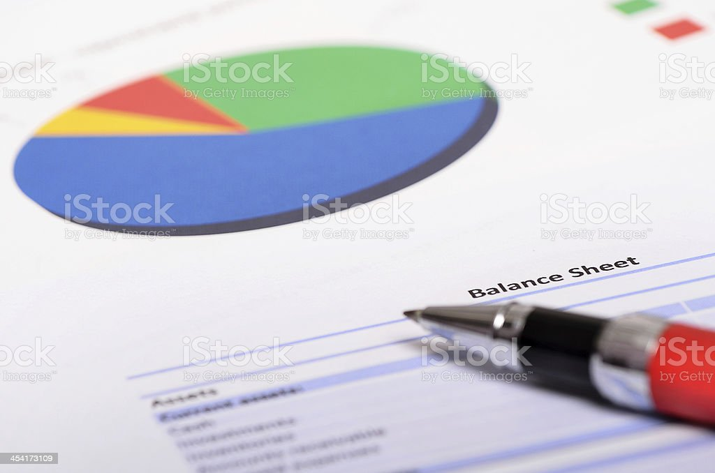 Profit and Loss Statement with financial figures and investment budget royalty-free stock photo