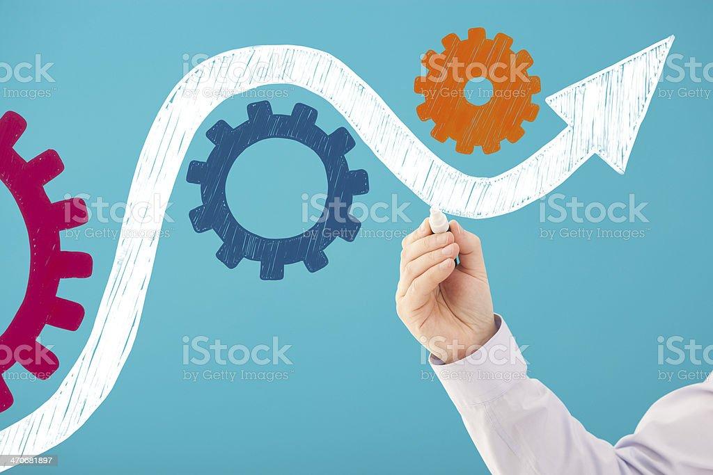 Profit arrow negotiates its way through obstacle course stock photo