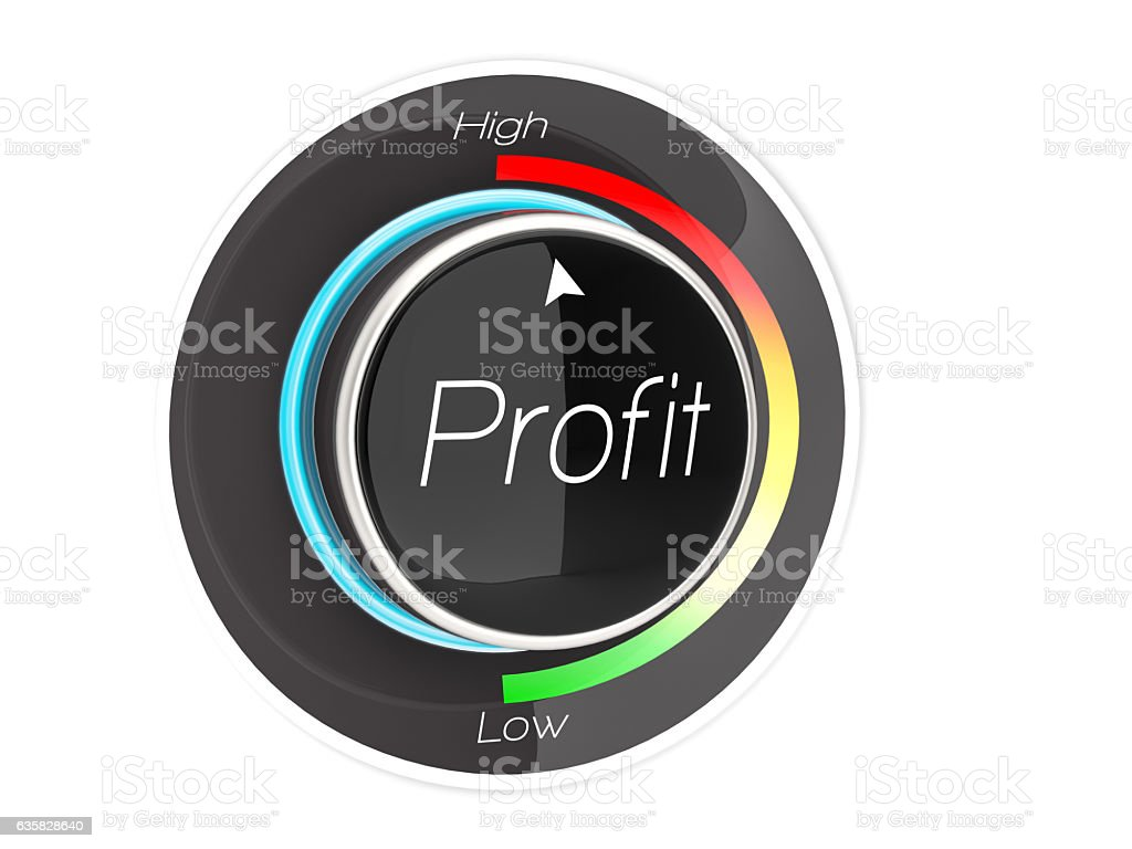 Profit button on highest position stock photo
