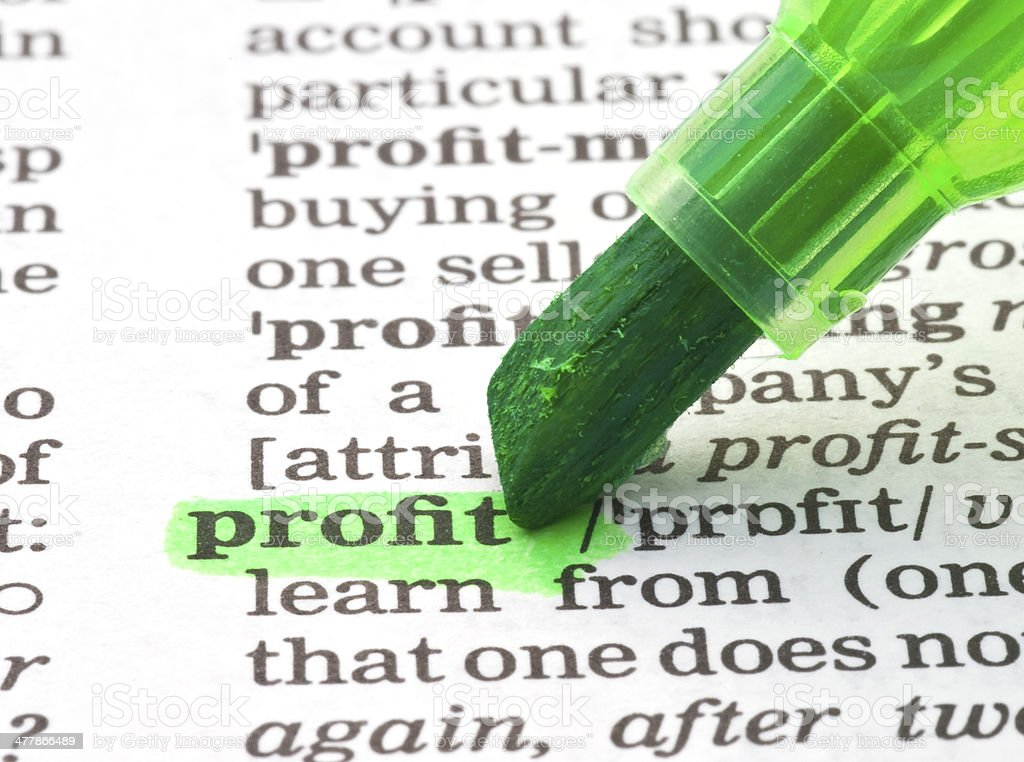 profit definition highligted in dictionary stock photo