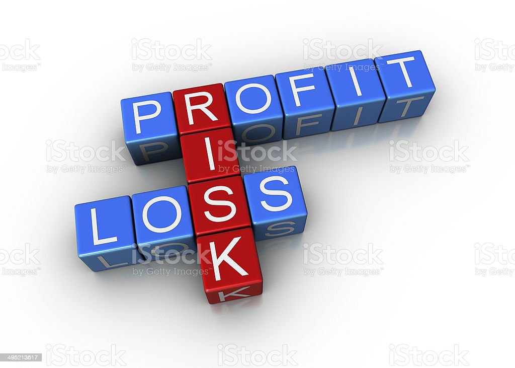 Profit, loss and risk crossword. stock photo