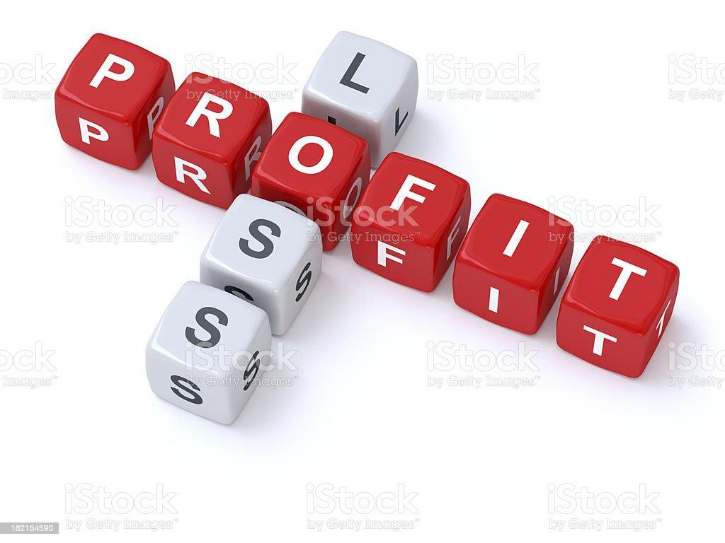 Profit loss crosswords stock photo