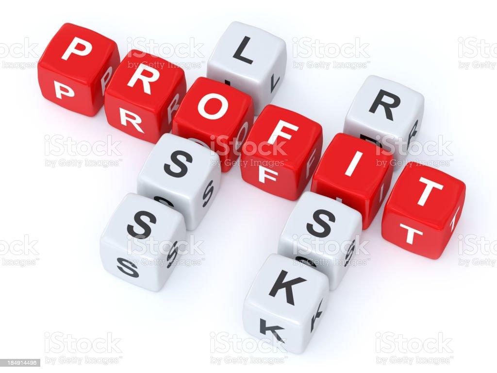 Profit loss Risk crosswords stock photo