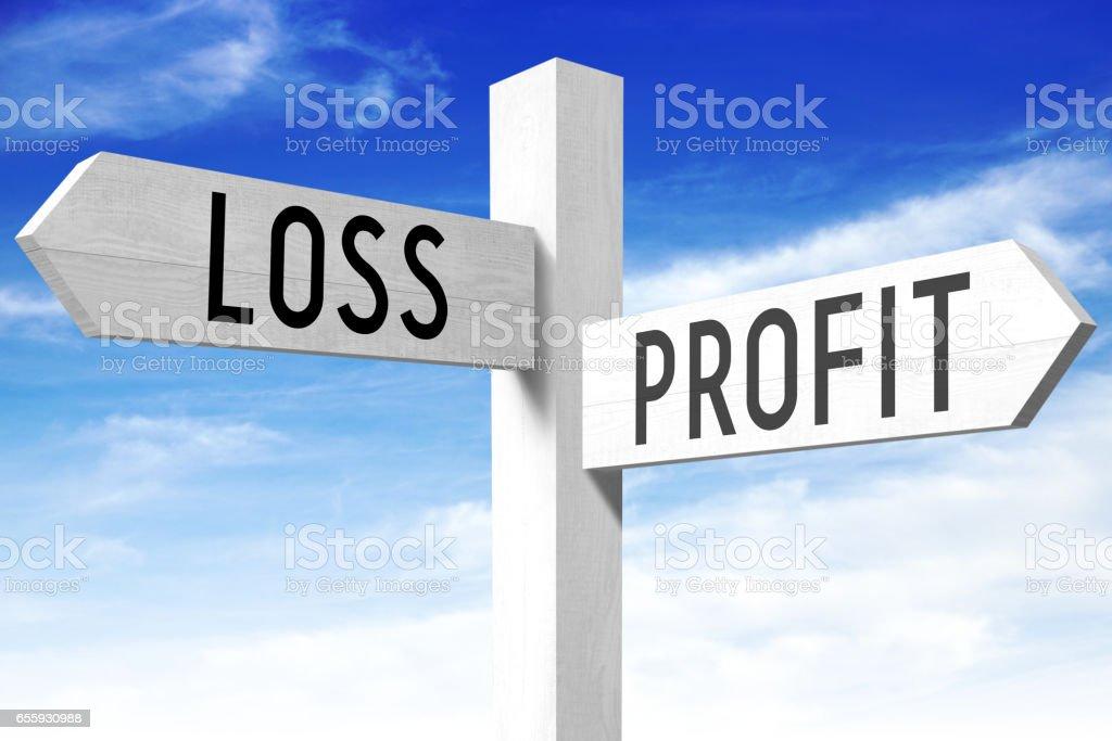 Profit, loss - wooden signpost stock photo