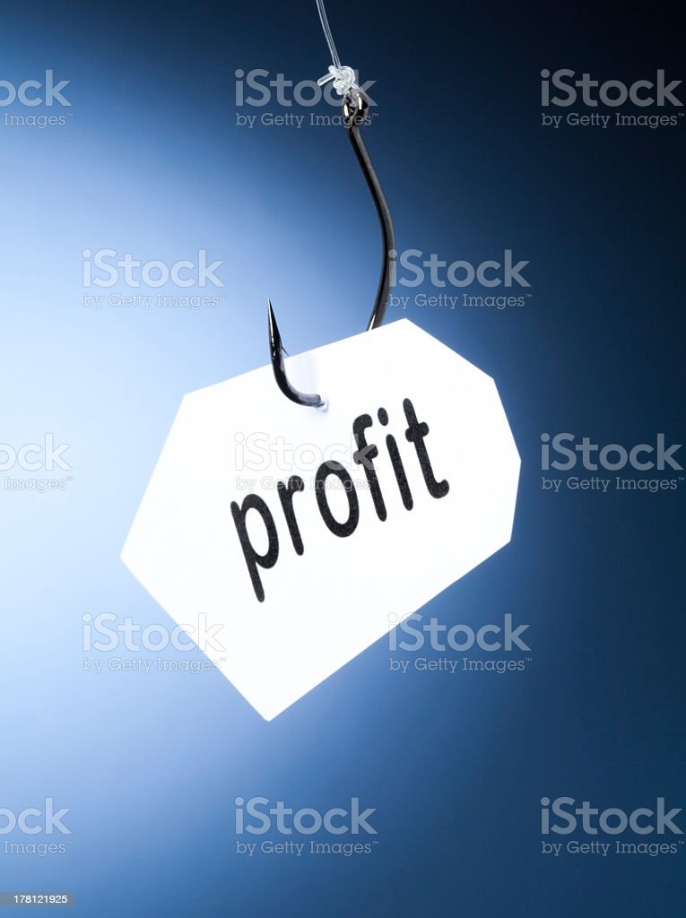 profit word on hook royalty-free stock photo