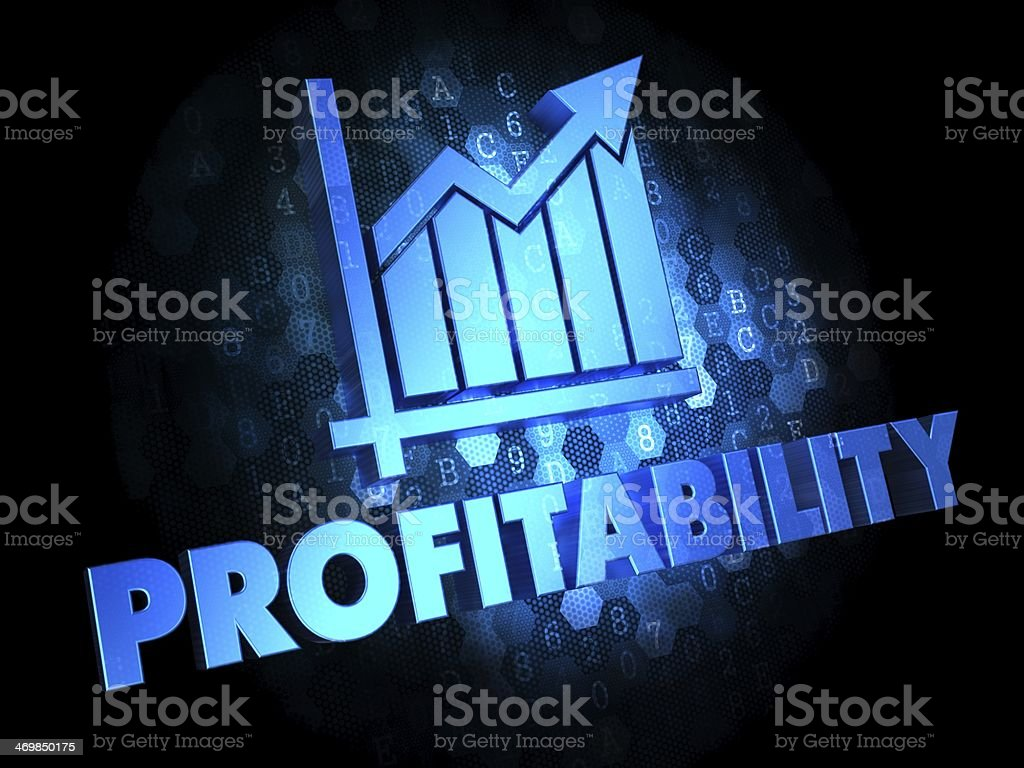 Profitability Concept on Dark Digital Background. stock photo