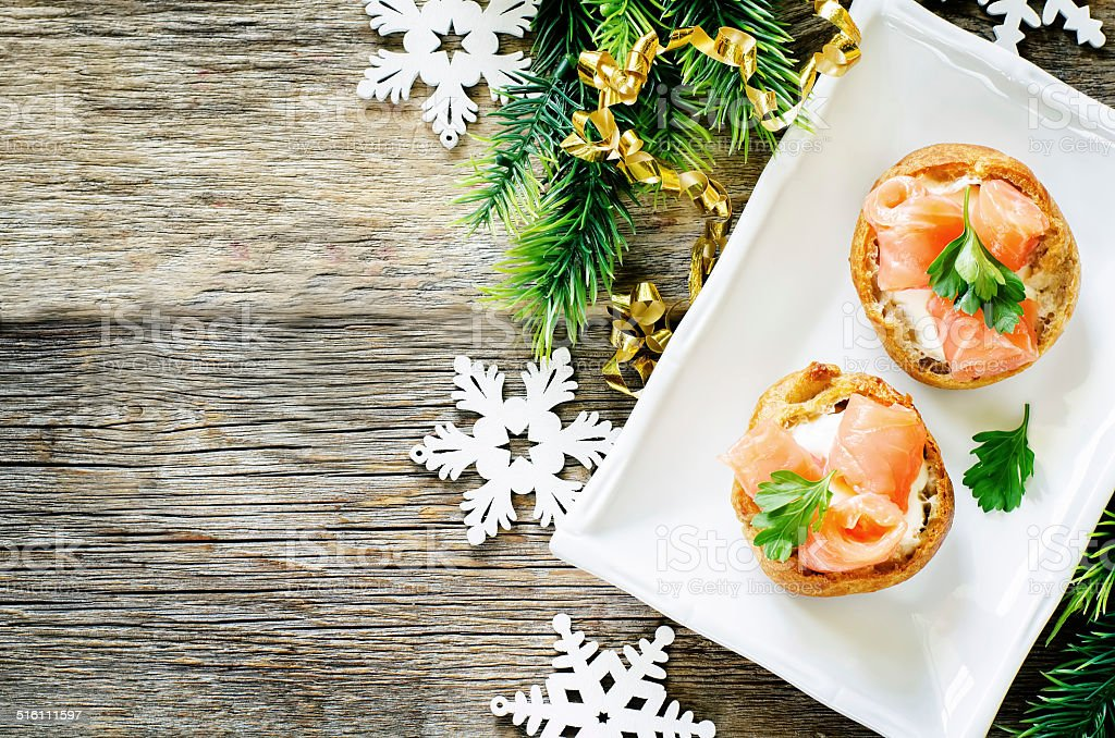 profiteroles with salmon and cream cheese stock photo