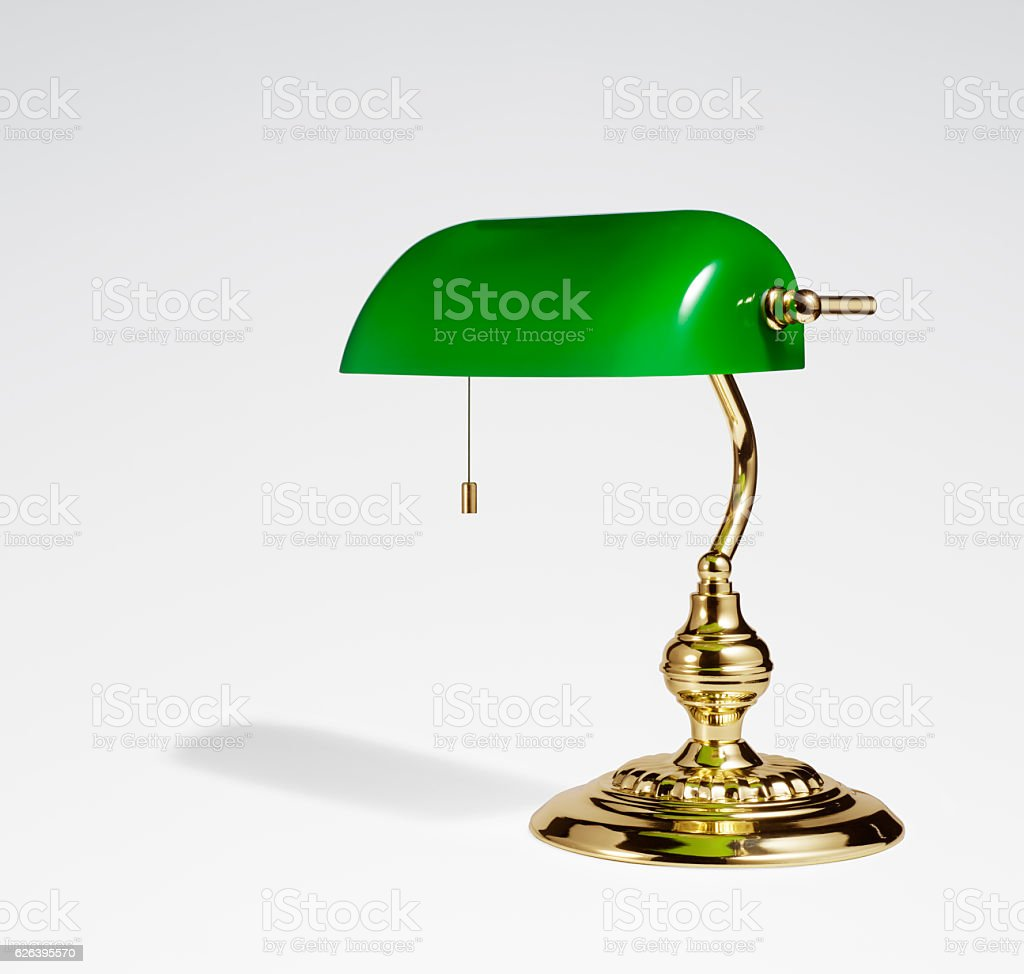 Proflie view of desk lamp on white background stock photo