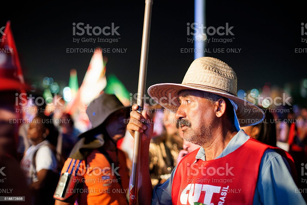 Pro-Government Protesters in Brazil stock photo