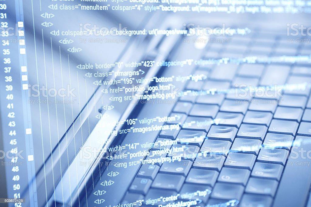 Program code and computer keyboard stock photo