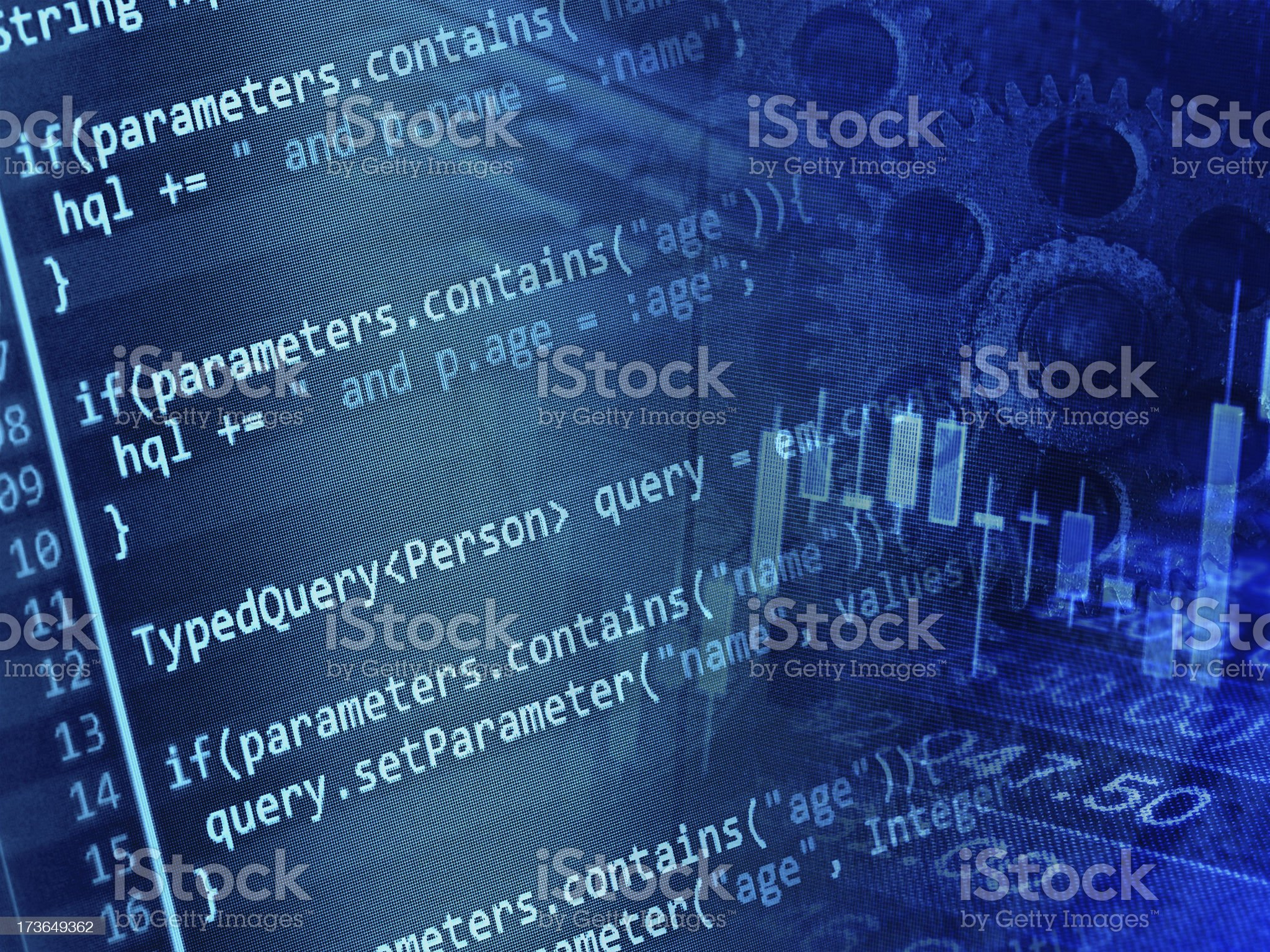 Program code and stock data royalty-free stock photo