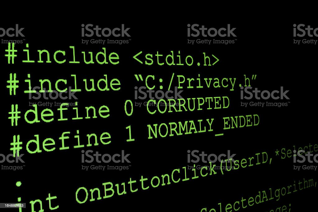 Program code on a monitor royalty-free stock photo