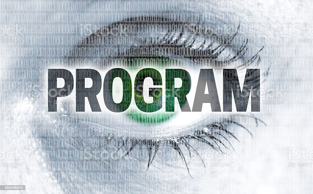 Program eye looks at viewer concept stock photo