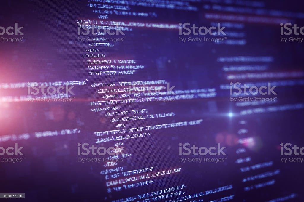 Program Source Code on LCD display stock photo