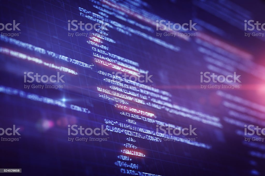 Program Source Code on LCD display stock photo