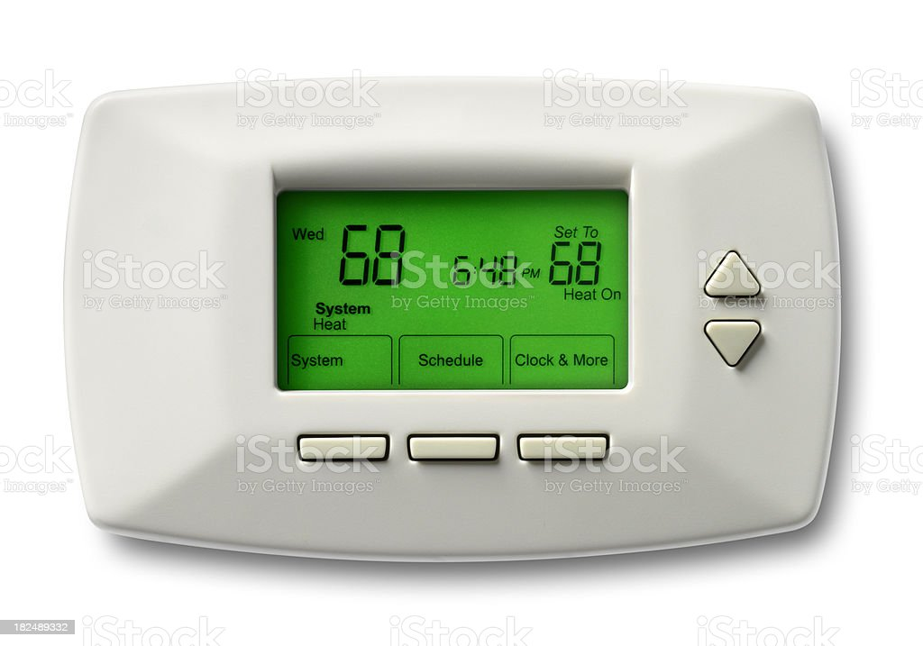 Programmable Thermostat, 68 Degrees, White Background stock photo