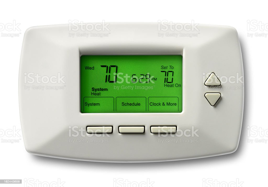 Programmable thermostat set at 70 degrees royalty-free stock photo