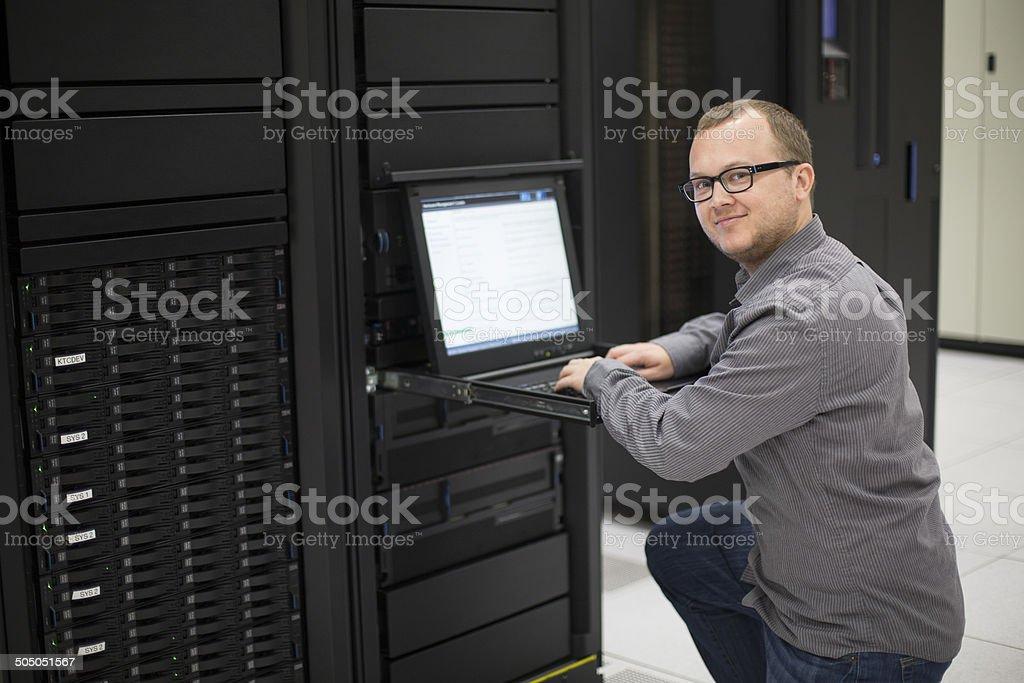 IT Programmer in Server Room stock photo