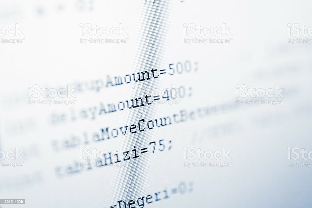 Programming code lines on lcd screen stock photo