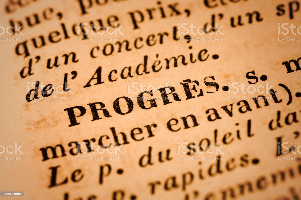 Progres: French Dictionary Close-up stock photo