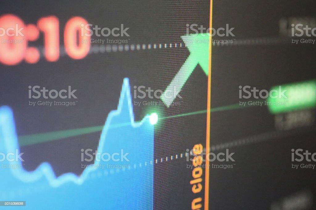 Progress graph on lcd screen stock photo