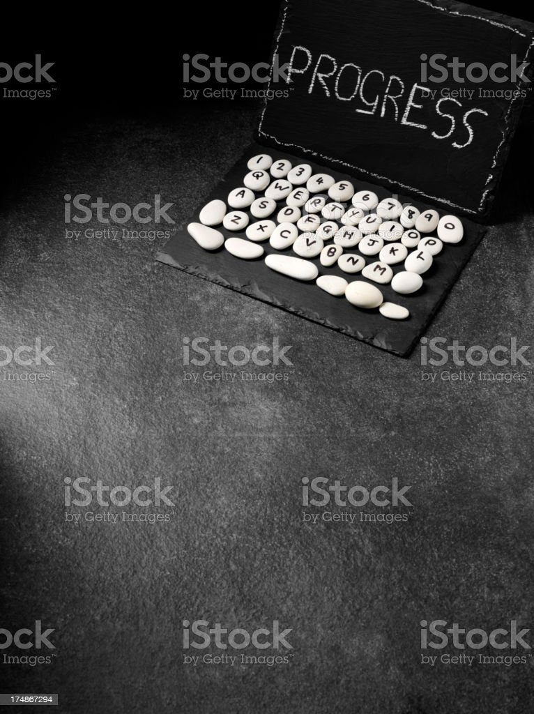 Progress on the Screen of a Slate Prehistoric Computer royalty-free stock photo