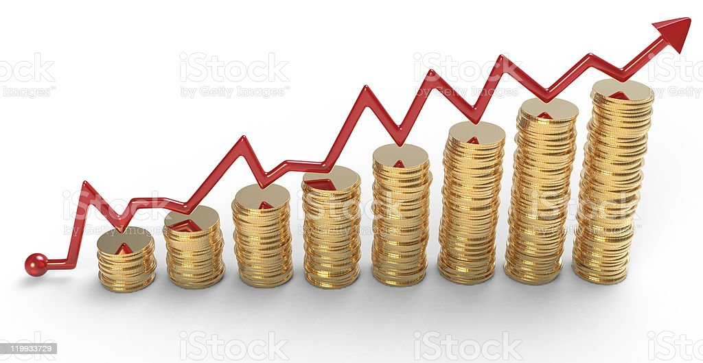 Progress: red graph over golden coins stacks royalty-free stock photo