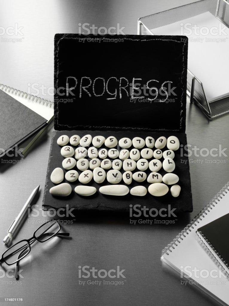 Progress Written on a Slate Laptop Computer royalty-free stock photo