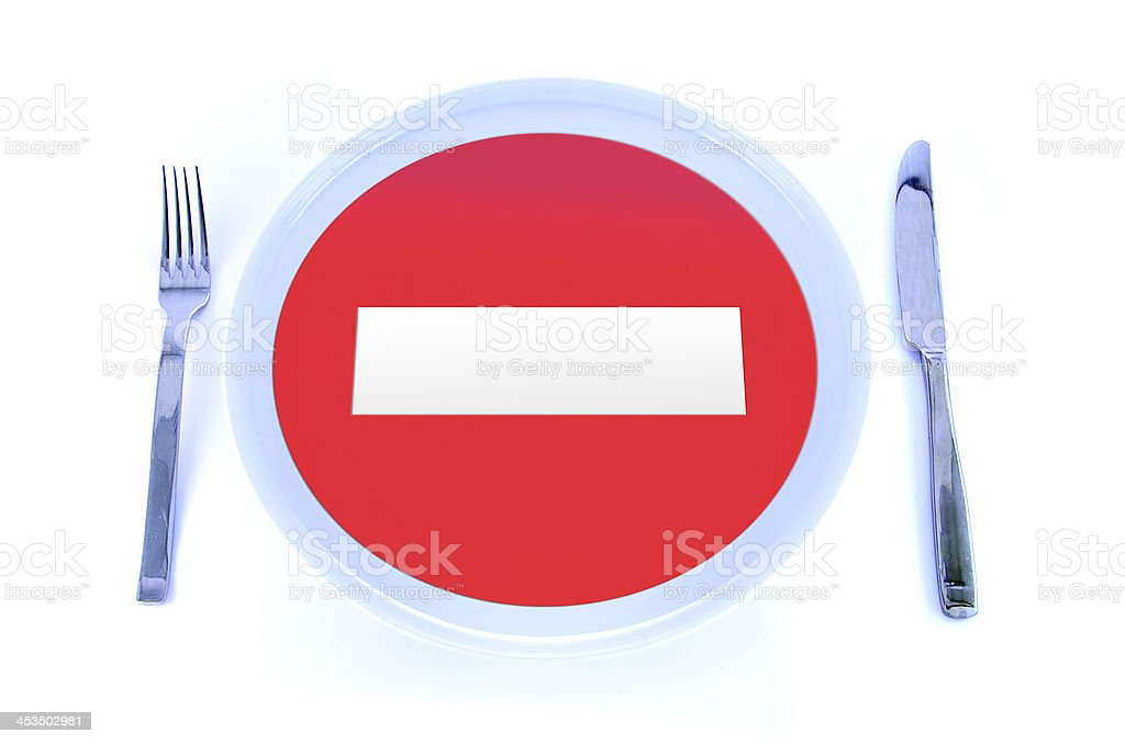 Prohibited signal in a plate royalty-free stock photo