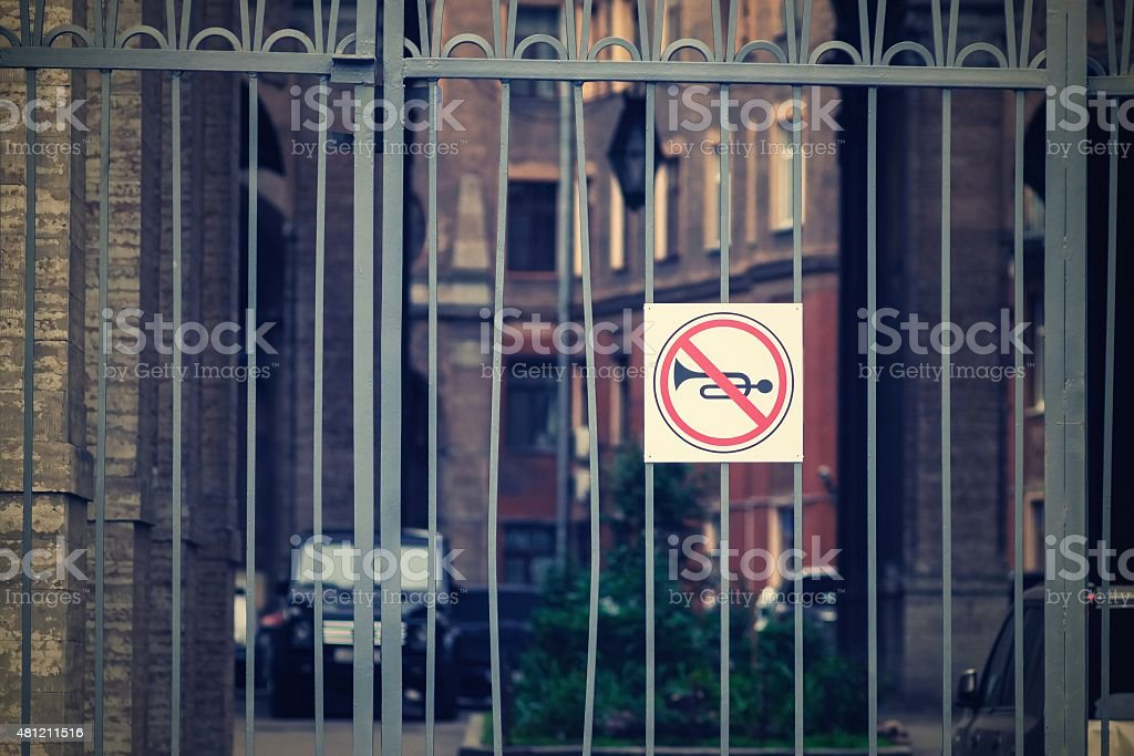 prohibition of a sound signal from retro effect stock photo
