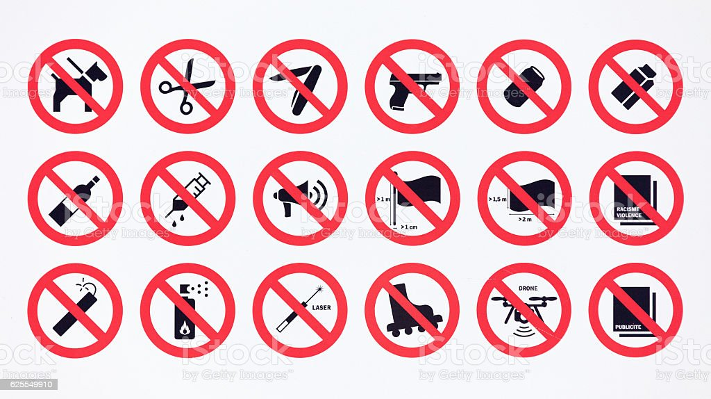Prohibition sign collection stock photo
