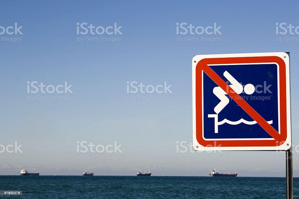 Prohibition sign in Koper harbor stock photo