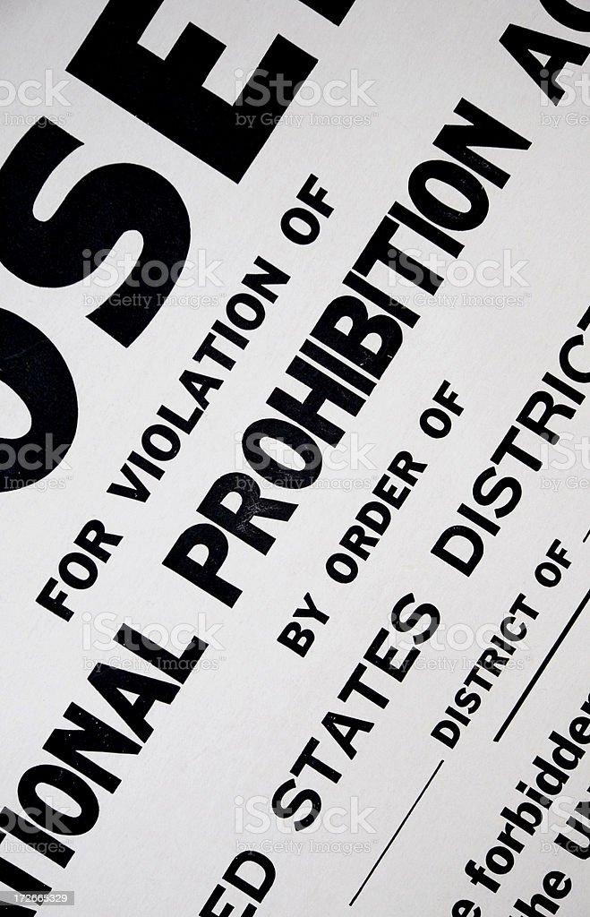 US Prohibition Sign stock photo