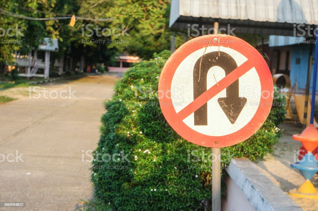 Prohibition Signs No U-Turn stock photo
