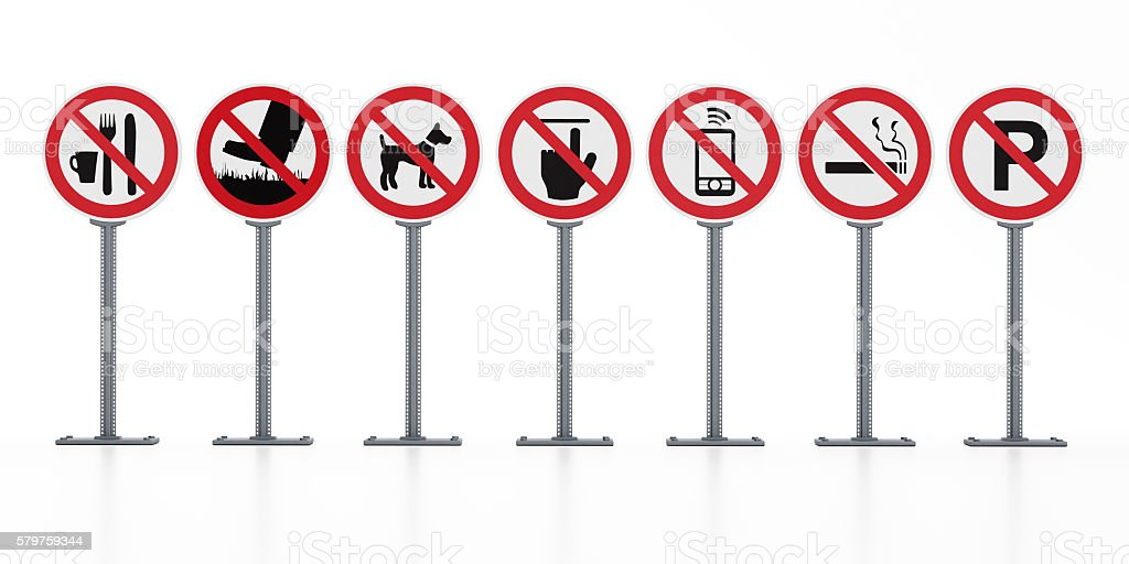 Prohibition signs stock photo