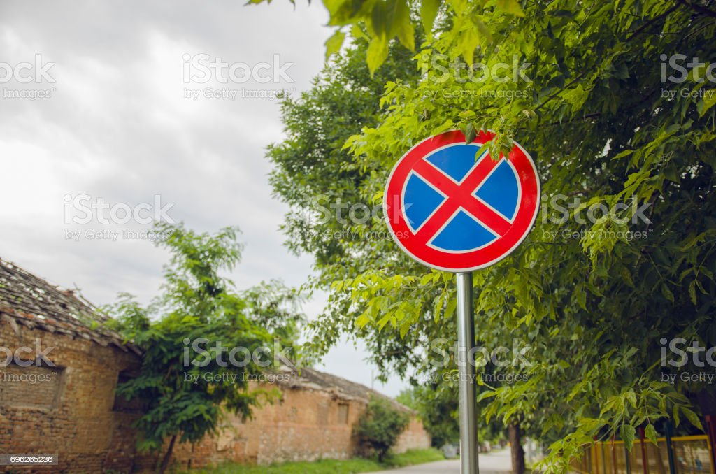 Prohibitory Traffic Parking And Staying Sign stock photo