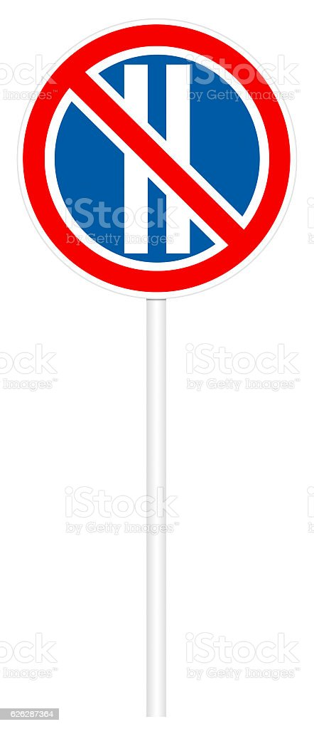 Prohibitory traffic sign - No parking on even days stock photo