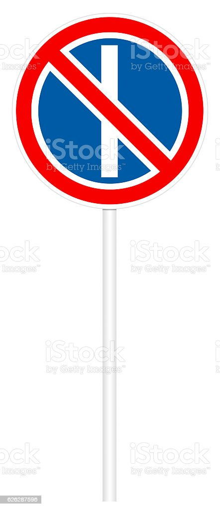 Prohibitory traffic sign - No parking on odd days stock photo