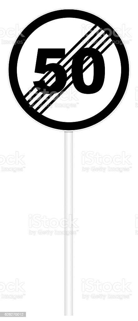 Prohibitory traffic sign - The end zone of max speed stock photo