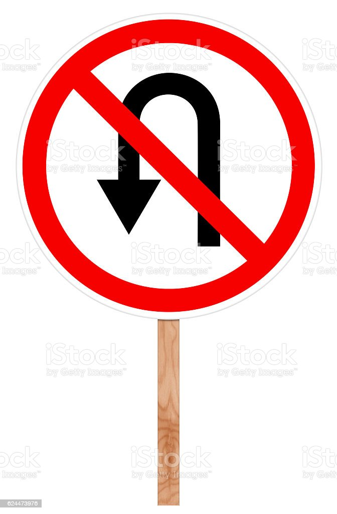Prohibitory traffic sign - U-turn forbidden stock photo