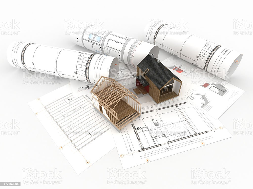 Project design and construction of wooden house royalty-free stock photo